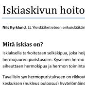 Nils Kyrklund: Iskiaskivun hoito