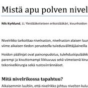 Nils Kyrklund: Mistä apu polven nivelrikon hoitoon?